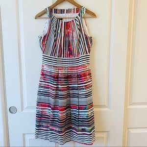 Nine West dress black and white stripes red 8